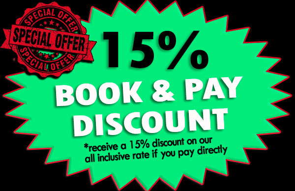 Special 15% book and pay now discount
